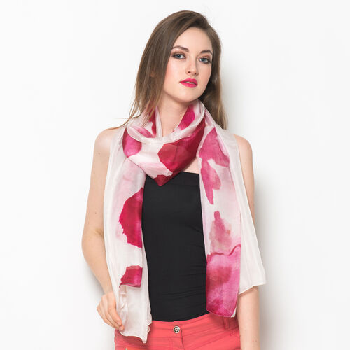 100% Mulberry Silk White, Pink and Multi Colour Floral Pattern Scarf (Size 175x100 Cm)
