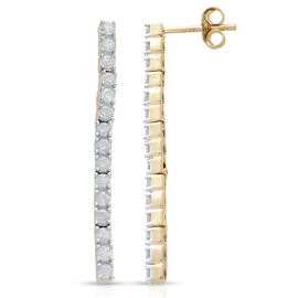 9K Yellow Gold 1 Carat Diamond Single Stranded Earrings (with Push Back) SGL Certified (I3/G-H)
