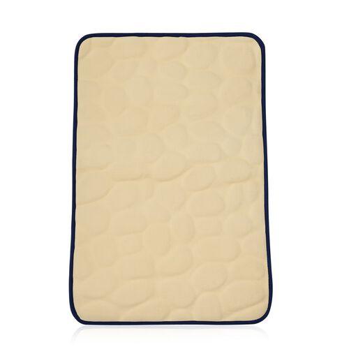 Cobble Stone Pattern Ocean Blue Colour Memory Foam Bath Mat (Size 75x45 Cm)