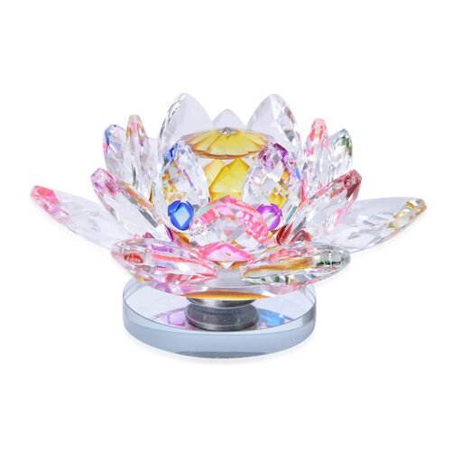 Fantasy Collection - Hand Crafted AAA Multi Colour Austrian Crystal and Faceted Glass Rotating Base Lotus  With a Gift Box.