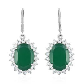 Verde Onyx (Ovl 14x10MM), Natural Cambodian Zircon Lever Back Earrings in Platinum Overlay Sterling Silver 12.250 Ct.