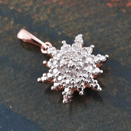 Diamond (Rnd) Snowflake Pendant in Rose Gold Overlay Sterling Silver