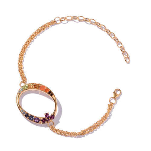 Rhodolite Garnet (Ovl), Citrine, Paraiba Apatite, Jalisco Fire Opal, Iolite and Multi Gemstone Initial O Bracelet (Size 9 with Extender) in 14K Gold Overlay Sterling Silver 1.501 Ct.