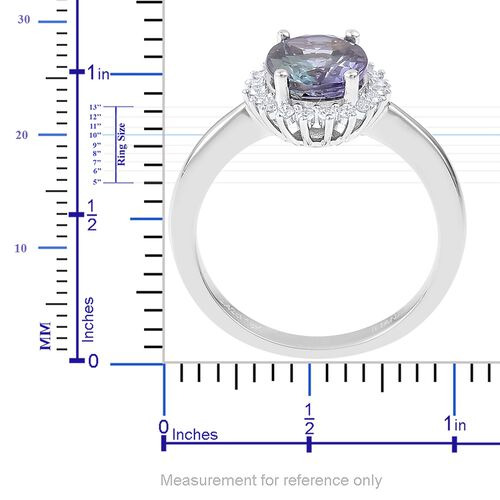 SIGNATURE COLLECTION ILIANA 18K W Gold AAA Peacock Tanzanite (Ovl 2.42 Ct), Diamond (SI/G-H) Ring 2.620 Ct.
