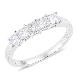 RHAPSODY 950 Platinum 1 Carat Princess Cut Diamond 5 Stone Ring, IGI Certified (VVS / E-F)