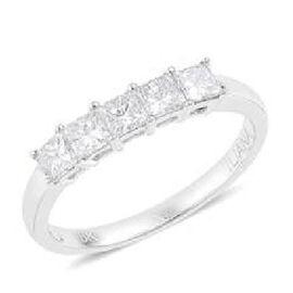 RHAPSODY 950 Platinum 1 Carat Princess Cut Diamond 5 Stone Ring, IGI Certified (VVS / E-F)
