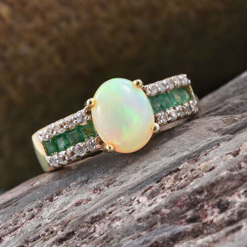 Ethiopian Welo Opal (Ovl 1.00 Ct), Kagem Zambian Emerald and Natural Cambodian Zircon Ring in 14K Gold Overlay Sterling Silver 1.555 Ct.