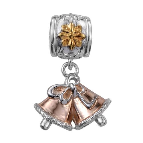 14K Gold, Platinum and Rose Gold Overlay Sterling Silver Christmas Bell Charm, Silver wt 4.35 Gms.
