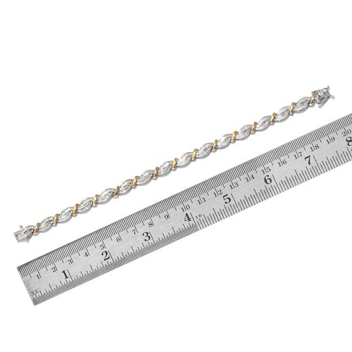 Diamond (Bgt) Bracelet (Size 7.5) in Platinum and Yellow Gold Overlay Sterling Silver 2.000 Ct. Silver wt 15.29 Gms. Number of Diamonds 396
