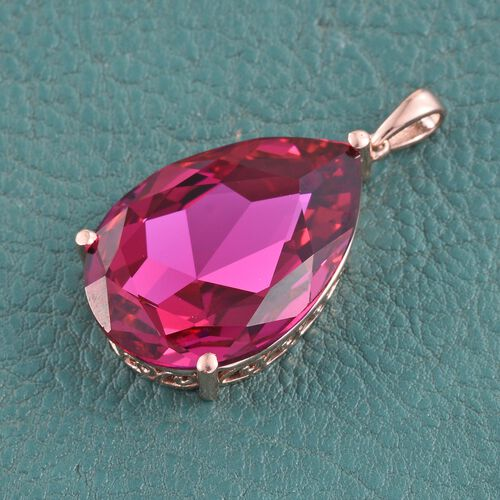 J Francis Crystal from Swarovski - Rubellite Crystal (Pear) Pendant in Rose Gold Overlay Sterling Silver