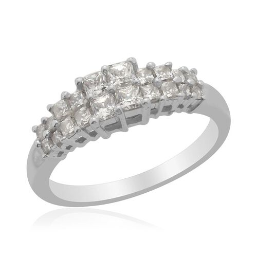 J Francis - Platinum Overlay Sterling Silver (Sqr) Ring Made with SWAROVSKI ZIRCONIA 0.832 Ct.