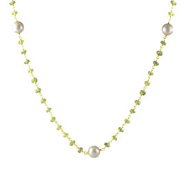 Designer Inspired- Hebei Peridot and Fresh Water Pearl Necklace (Size 18 with 1 inch Extender) in Yellow Gold Overlay Sterling Silver 38.000 Ct.