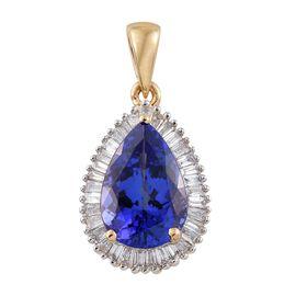 ILIANA 18K Y Gold AAA Tanzanite (Pear 3.05 Ct), Diamond (SI/G-H) Pendant  3.500 Ct.