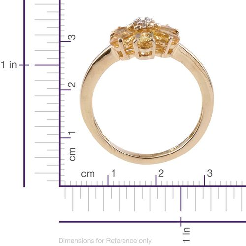 Tanzanian Scapolite (Ovl), Natural Cambodian Zircon Floral Ring in 14K Gold Overlay Sterling Silver 1.250 Ct.