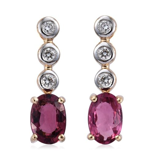 ILIANA 18K Yellow Gold Pink Tourmaline (Ovl), Diamond Drop Earrings (with Screw Back) 1.000 Ct.