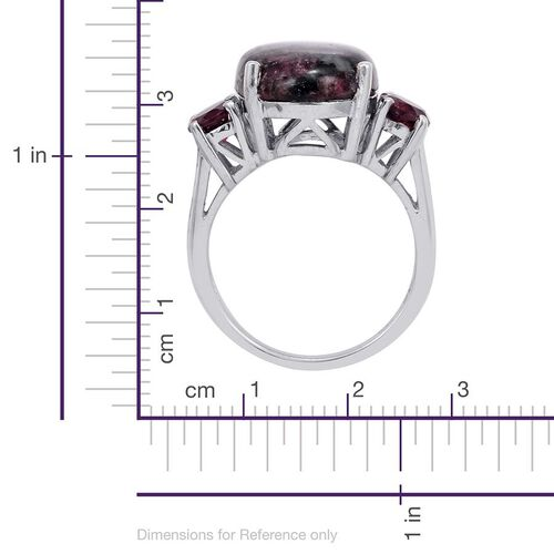 Russian Eudialyte (Ovl 8.50 Ct), Rhodolite Garnet Ring in Platinum Overlay Sterling Silver 10.000 Ct.