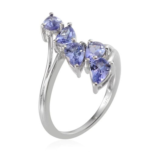 Close Out Deal 9K W Gold Tanzanite (Pear) 5 Stone Crossover Ring 2.000 Ct.