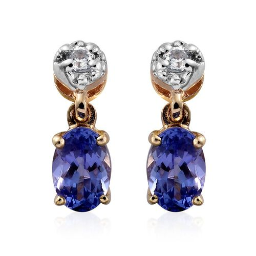 9K Yellow Gold AA Tanzanite (Ovl), Natural Cambodian Zircon Drop Earrings (with Push Back) 0.920 Ct.