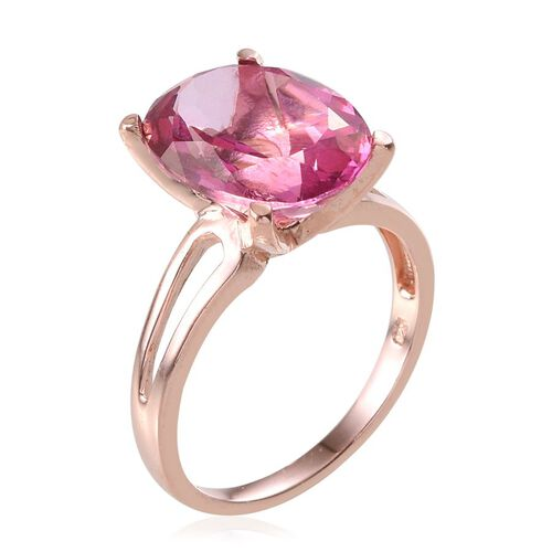 Mystic Pink Coated Topaz (Ovl) Solitaire Ring in Rose Gold Overlay Sterling Silver 10.000 Ct.