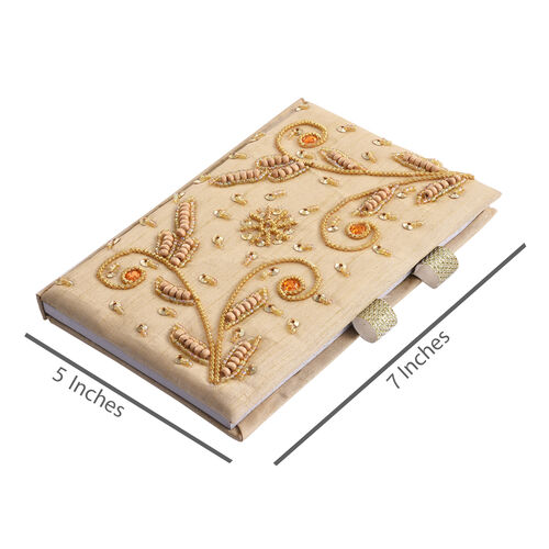 Hand Crafted Embellished Zari Work Beige and Orange Notebook and Pen Set (Size 17.78X12.70 Cm)