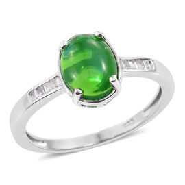 Green Ethiopian Opal (Ovl 1.15 Ct), Diamond Ring in Platinum Overlay Sterling Silver 1.250 Ct.
