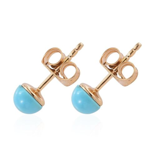 Rare Arizona Sleeping Beauty Turquoise (Rnd) Ball Stud Earrings (with Push Back) in 14K Gold Overlay Sterling Silver 1.000 Ct.