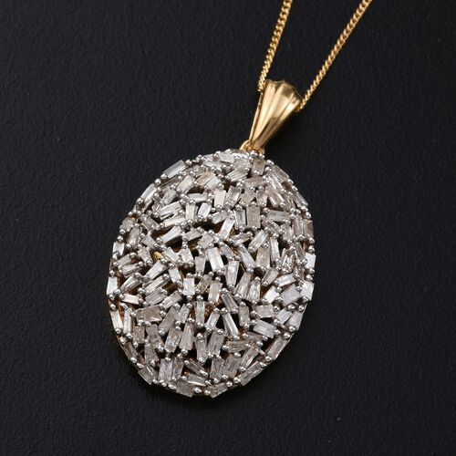 Designer Inspired- Fireworks Diamond (Bgt) Cluster Pendant with Chain in 14K Gold Overlay Sterling Silver 1.500 Ct.