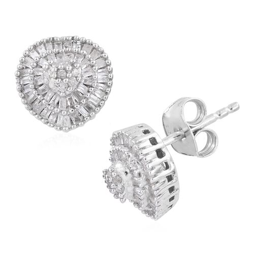 Limited Edition Fire Cracker Diamond Earrings (with Push Back) in Platinum Overlay Sterling Silver 0.500 Ct. Number of Diamonds 148