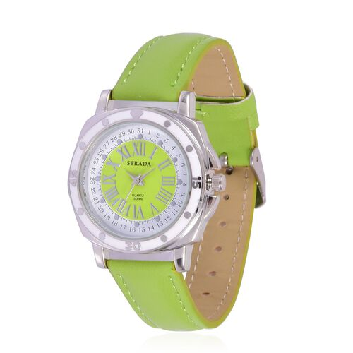 STRADA Japanese Movement Green and White Dial Water Resistant Watch in Silver Tone with Stainless Steel Back and Green Strap