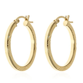 14K Gold Overlay Sterling Silver Hoop Earrings (with Clasp), Silver wt 3.30 Gms.