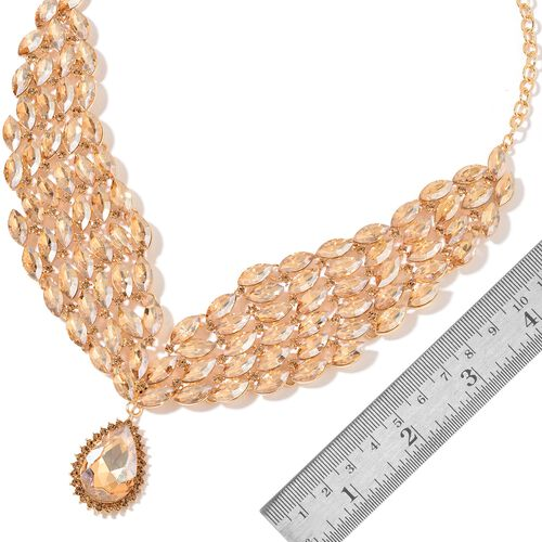 AAA Simulated Champagne Diamond and Champagne Colour Austrian Crystal Collar Necklace (Size 20 with 3 inch Extender) and Earrings (with Push Back) in Yellow Gold Tone