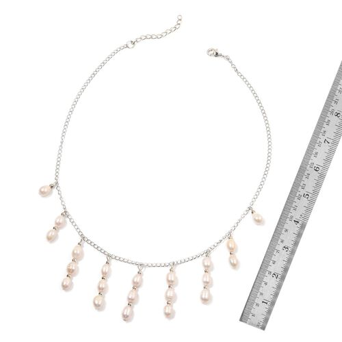 Fresh Water White Pearl Necklace (Size 18) in Silver Tone