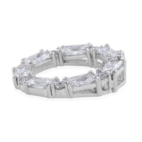 J Francis - Platinum Overlay Sterling Silver (Bgt) Circle Pendant Made with SWAROVSKI ZIRCONIA