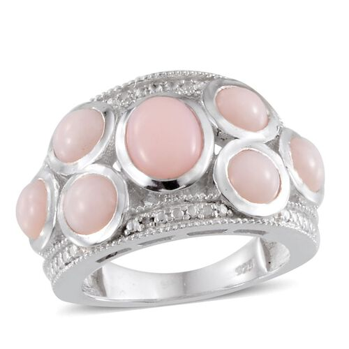 Peruvian Pink Opal (Ovl 0.75 Ct), Diamond Ring in Platinum Overlay Sterling Silver 3.520 Ct.