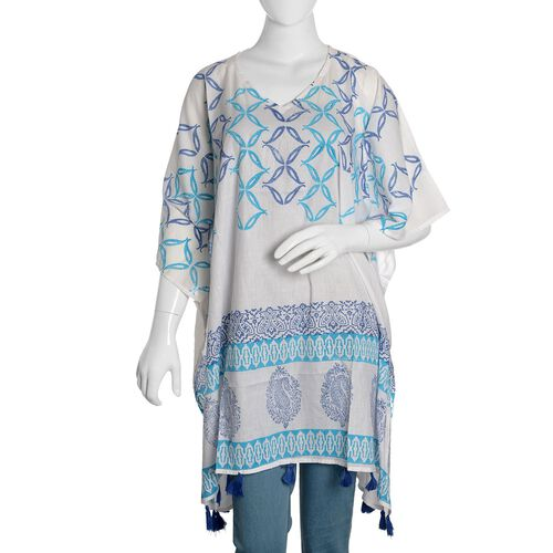 100% Cotton Light Blue, Dark Blue and White Colour Hand Block Medellin and Paisley Printed Kaftan with Tassels (Free Size)