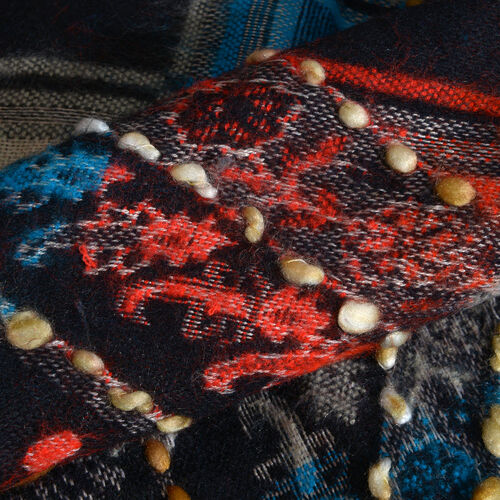 Close Out Deal - Hand Embroidered Adda Work from India - Black, Red and Multi Colour Floral Pattern Hand Embroidered Scarf with Tassels (Size 200X67 Cm)