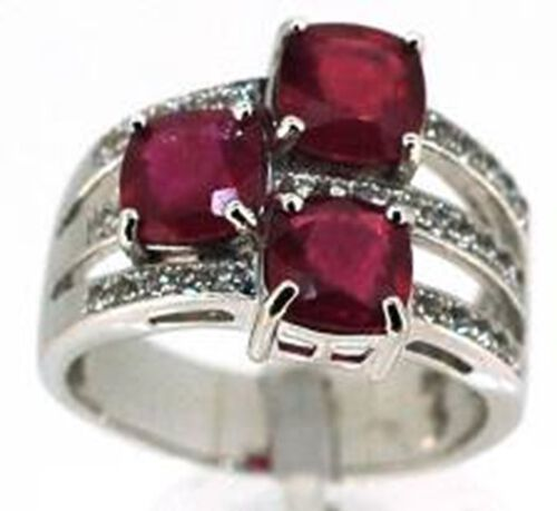 African Ruby (Cush), White Topaz Ring in Rhodium Plated Sterling Silver 6.750 Ct.