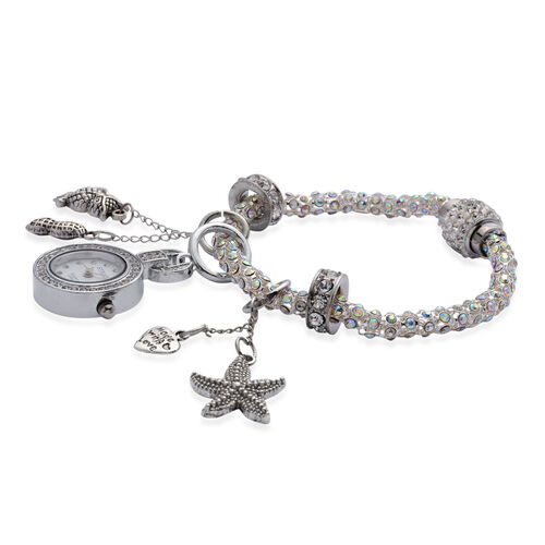 STRADA Japanese Movement AB White Austrian Crystal Stainless Steel Back Watch with 6 Charms on Popcorn Bracelet and Magnetic Clasp in Silver Tone