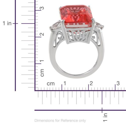 Padparadscha Colour Quartz (Oct 18.00 Ct), White Topaz Ring in Platinum Overlay Sterling Silver 19.000 Ct.