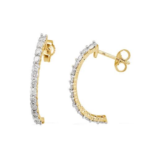 9K Y Gold SGL Certified Diamond (Rnd) (I3 / G-H) J Hoop Earrings (With Push Back) 1.000 Ct.