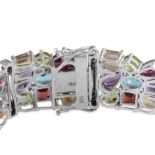 Rhodolite Garnet (Pear), Swiss Blue Topaz, Mozambique Garnet, Amethyst, Citrine, Hebei Peridot and White Topaz Bracelet (Size 7.5) in Platinum Overlay Sterling Silver 53.500 Ct.