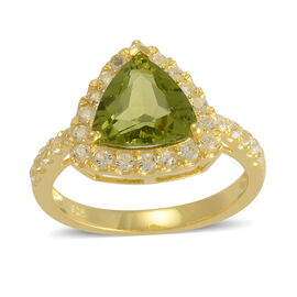 AA Hebei Peridot (Trl 2.40 Ct), White Topaz Ring in 14K Gold Overlay Sterling Silver 2.930 Ct.