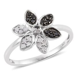 0.25 Carat Black Diamond And White Diamond Floral Ring in Platinum Overlay Sterling Silver