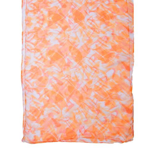 100% Mulberry Silk Orange and White Colour Printed Scarf (Size 180X50 Cm)