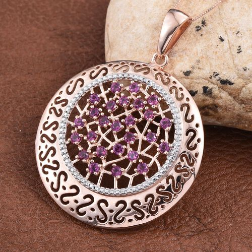 Rare Mozambique Grape Colour Garnet (Rnd) Pendant With Chain in Rose Gold Overlay Sterling Silver 2.500 Ct.
