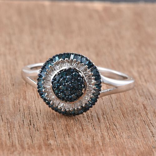 Blue Diamond (Rnd), White Diamond Ring in Platinum Overlay Sterling Silver 0.500 Ct.