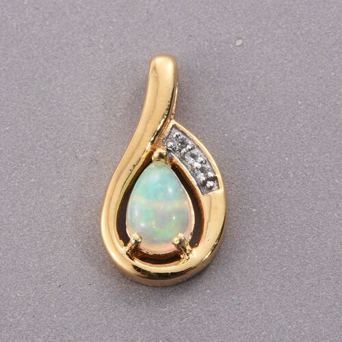 Ethiopian Welo Opal, White Topaz 0.81 Ct Silver Pendant in Gold Overlay