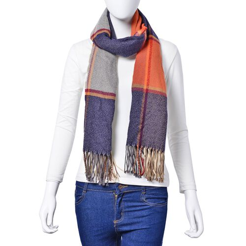 Navy, Grey, Orange and Red Colour Scarf with Long Tassels (Size 180x65 Cm)