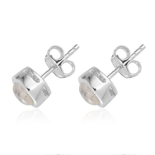 Natural Rainbow Moonstone (Rnd) Stud Earrings (with Push Back) in Platinum Overlay Sterling Silver 2.000 Ct.