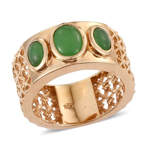 Green Jade (Ovl 1.15 Ct) 3 Stone Ring in 14K Gold Overlay Sterling Silver 2.400 Ct.